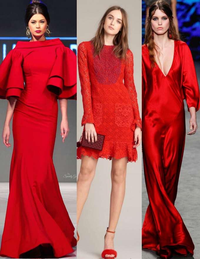 красные платья из шелка и гипюра встречаем Новый год