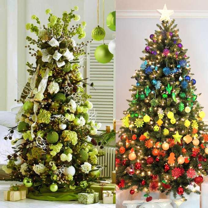 украшение елки шарами всех цветов радуги