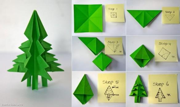 оригами из зеленой бумаги