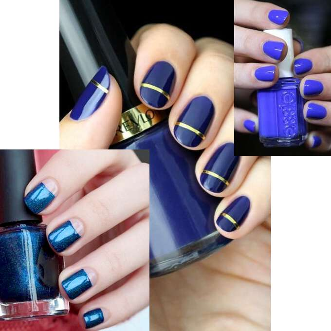 синий лак на ногтях