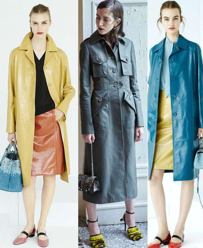 модные кожаные пальто ярких цетов
