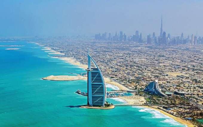 вид на город Дубай сверху
