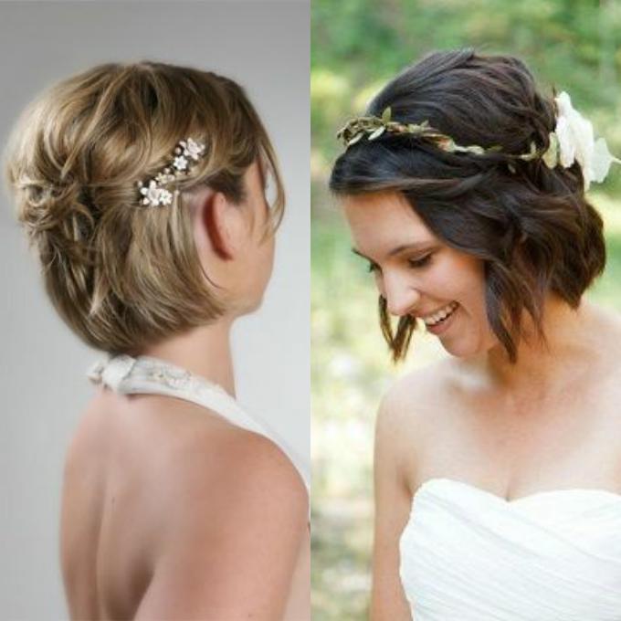 Фото свадебных укладок для невесты на короткие волосы 2017 года