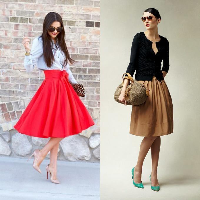 Туфли лодочки и юбка колокол