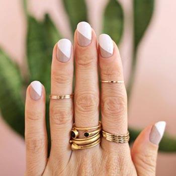 Двухцветный дизайн ногтей