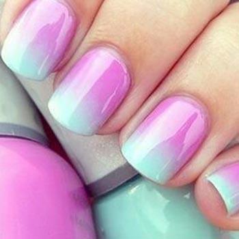 Омбре на коротких ногтях