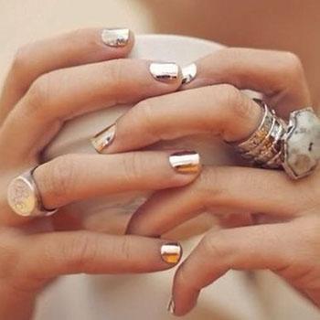 Золотые металлические ногти