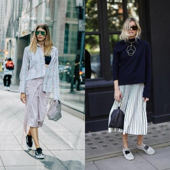 Сочетание кроссовок с платьями и юбками