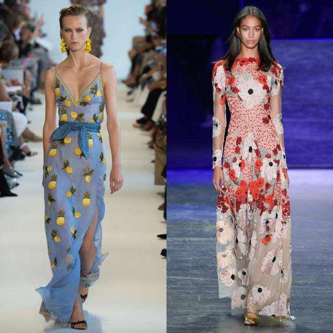 Цветочные и тропические мотивы на платьях
