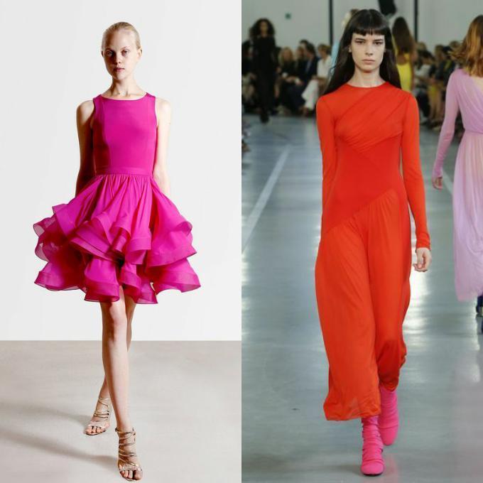 розовое и красное платье